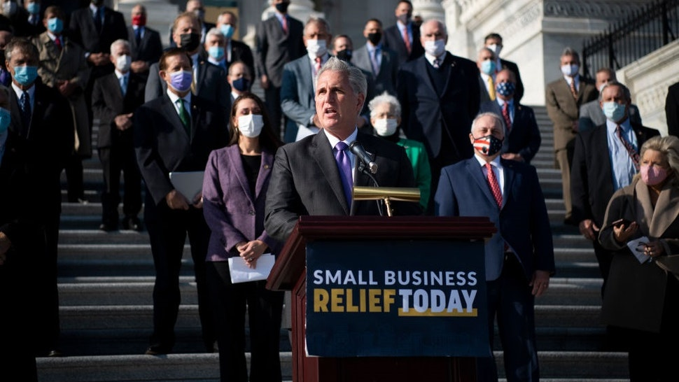 UNITED STATES - December 10: House Minority Leader Kevin McCarthy, R-Calif., joined by other House Republicans, speaks during a news conference on the House steps in Washington on Thursday, Dec. 10, 2020. McCarthy and House Republicans discussed their desire to extend the Paycheck Protection Program and provide relief for small business owners and their employees who have been affected by the coronavirus pandemic.