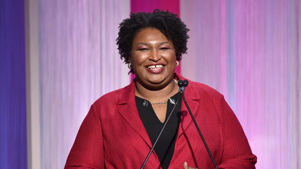 HOLLYWOOD, CALIFORNIA - DECEMBER 11: Politician Stacey Abrams speaks onstage during The Hollywood Reporter's Power 100 Women in Entertainment at Milk Studios on December 11, 2019 in Hollywood, California. (Photo by Alberto E. Rodriguez/Getty Images for The Hollywood Reporter)