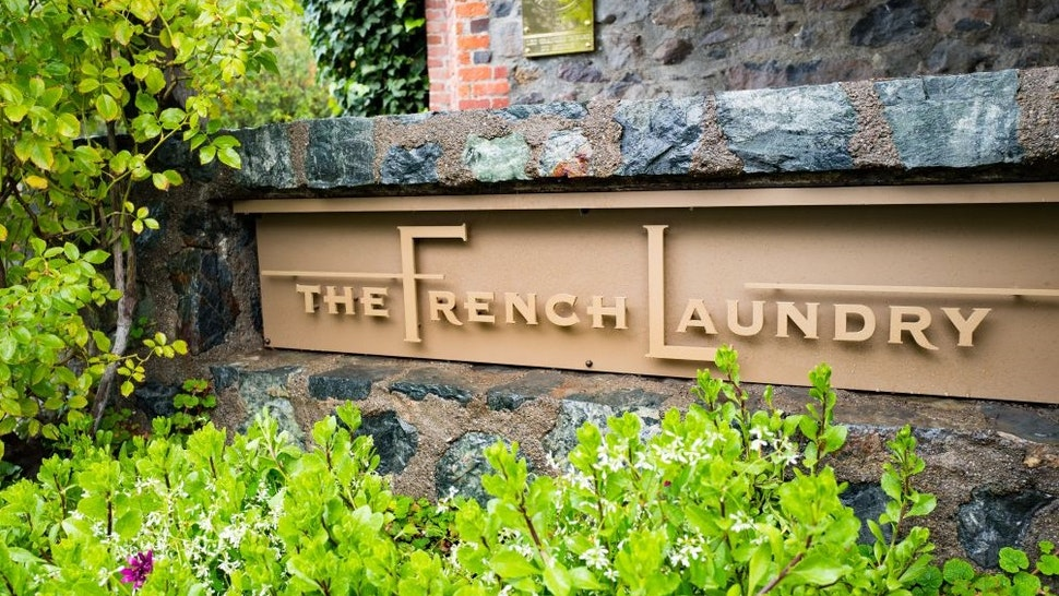 Signage for the French Laundry restaurant in Yountville, Napa Valley, California, operated by chef Thomas Keller and known for being one of the few restaurants in the United States to earn three Michelin stars, November 26, 2016.
