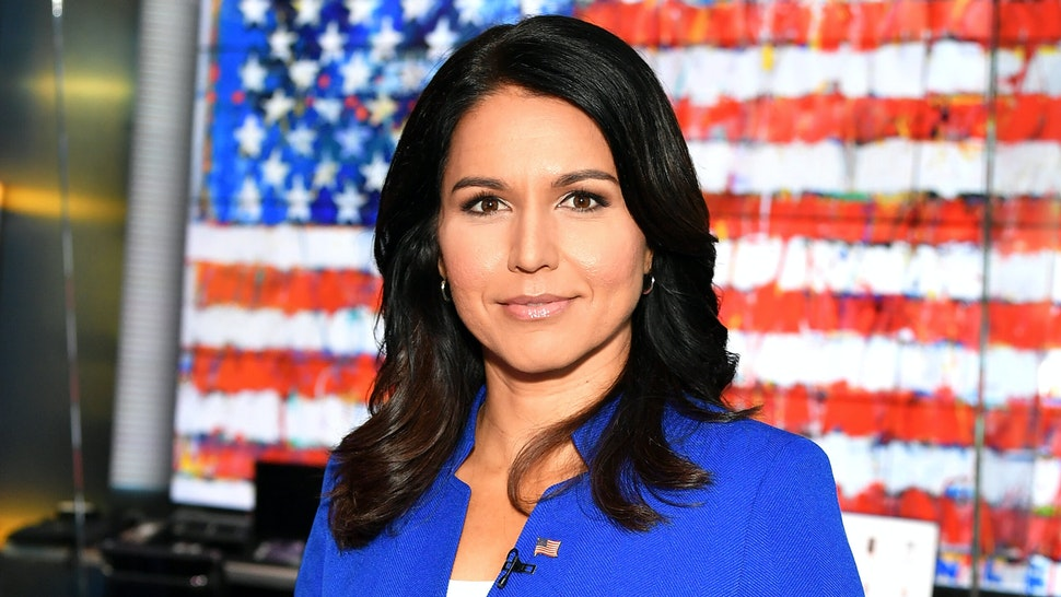 """NEW YORK, NY - SEPTEMBER 24: (EXCLUSIVE COVERAGE) Democratic Presidential Candidate Tulsi Gabbard visits """"FOX & Friends"""" at Fox News Channel Studios on September 24, 2019 in New York City."""