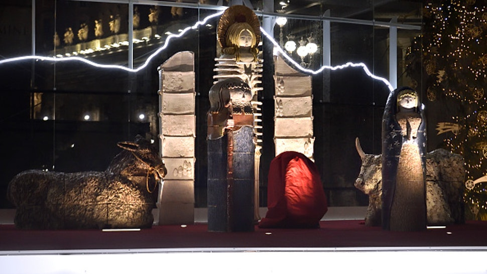 The nativity crib in St. Peter's Square. Vatican City (Vatican), December 14th, 2020
