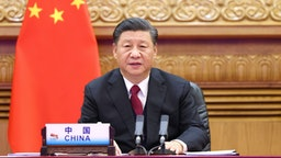 BEIJING, Nov. 22, 2020 -- Chinese President Xi Jinping attends Session II of the 15th G20 Leaders' Summit via video link in Beijing, capital of China, Nov. 22, 2020.