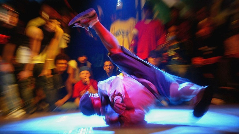 LONDON, ENGLAND - OCTOBER 3: A contestant performs in the international team B-Boy battle in Brixton Academy on October 3, 2004 in London. (Photo by