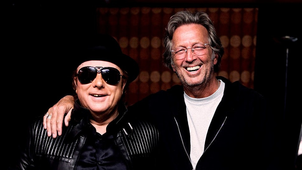 LONDON - APRIL 18: In this handout image provided by Lobeline Communcations, Van Morrison and friend Eric Clapton pose backstage during two sold out nights at London�s Royal Albert Hall April 18, 2009 in London, England. (Photo by