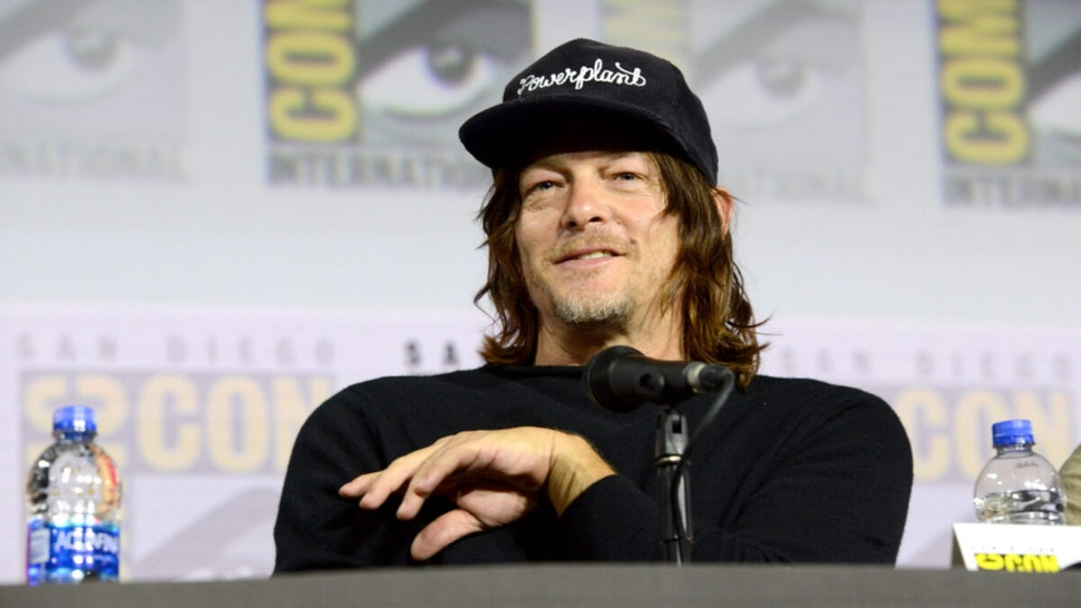 """Norman Reedus speaks at """"The Walking Dead"""" Panel during 2019 Comic-Con International at San Diego Convention Center on July 19, 2019 in San Diego, California."""