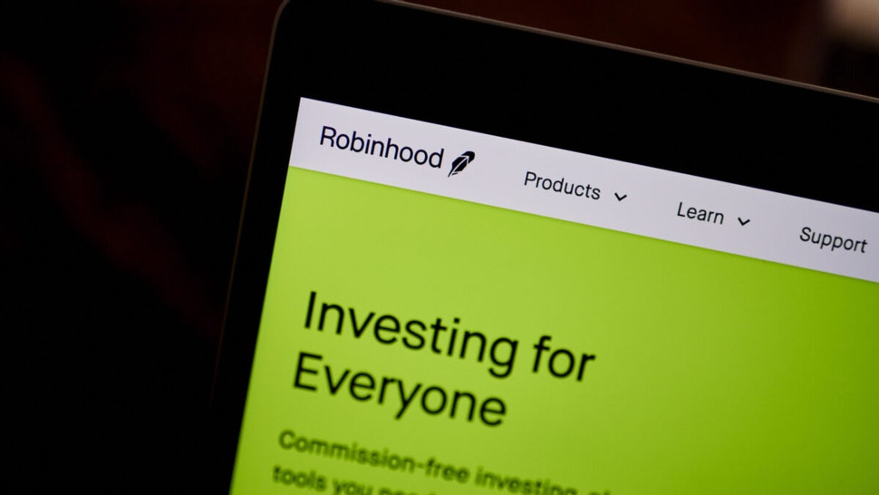 The Robinhood website home screen on a laptop computer arranged in the Brooklyn borough of New York, U.S., on Saturday, Dec. 19, 2020.
