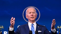 US President-elect Joe Biden delivers remarks on the public health and economic crises at The Queen theater in Wilmington, Delaware on January 14, 2021.