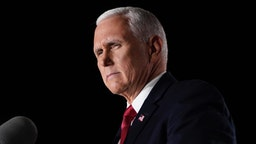 Mike Pence accepts the vice presidential nomination during the Republican National Convention from Fort McHenry National Monument on August 26, 2020 in Baltimore, Maryland.