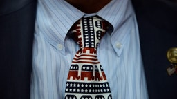Will Deschamps, state chairman of Montana, wears a tie decorated with elephant mascots at the Republican National Convention (RNC) in Tampa, Florida, U.S., on Thursday, Aug. 30, 2012.