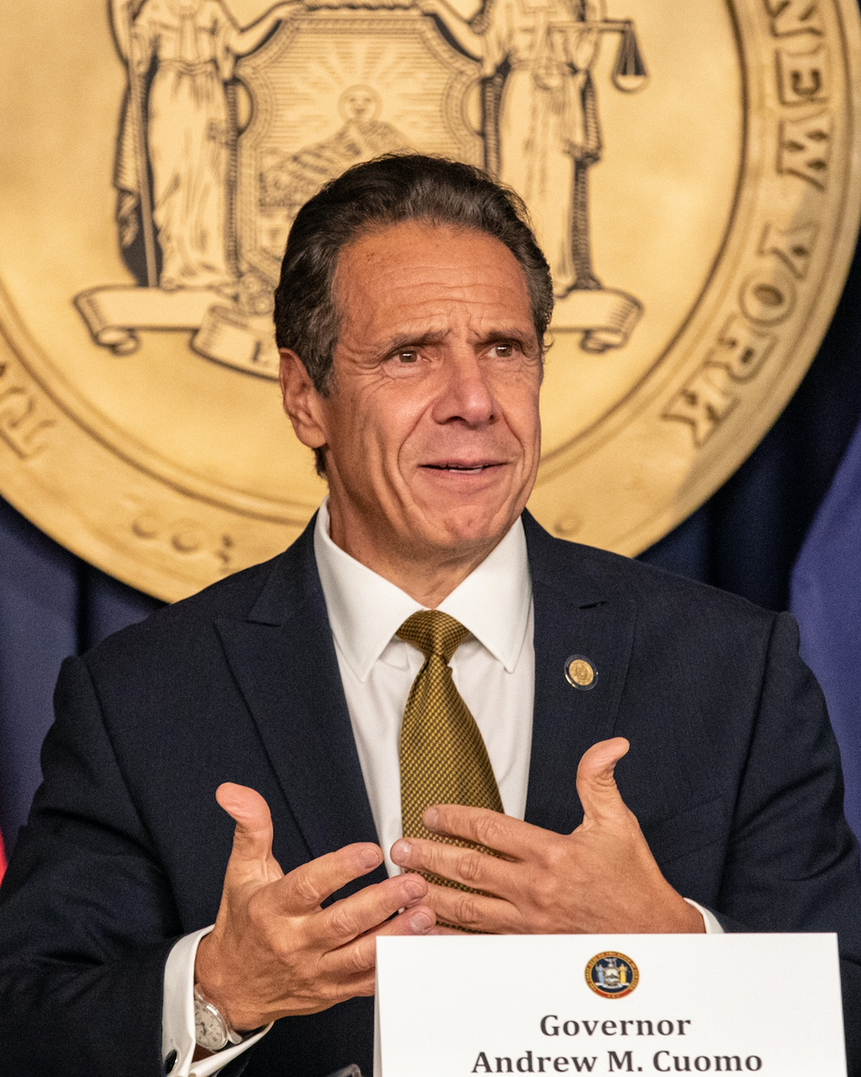 Andrew Cuomo, governor of New York, speaks during a news conference in New York, U.S., on Monday, Oct. 5, 2020. Governor Cuomo said New York City public and private schools in viral hot spots must close Tuesday, and he threatened to shut religious institutions if members don't follow rules about masks and social distancing. Photographer: Jeenah Moon/Bloomberg