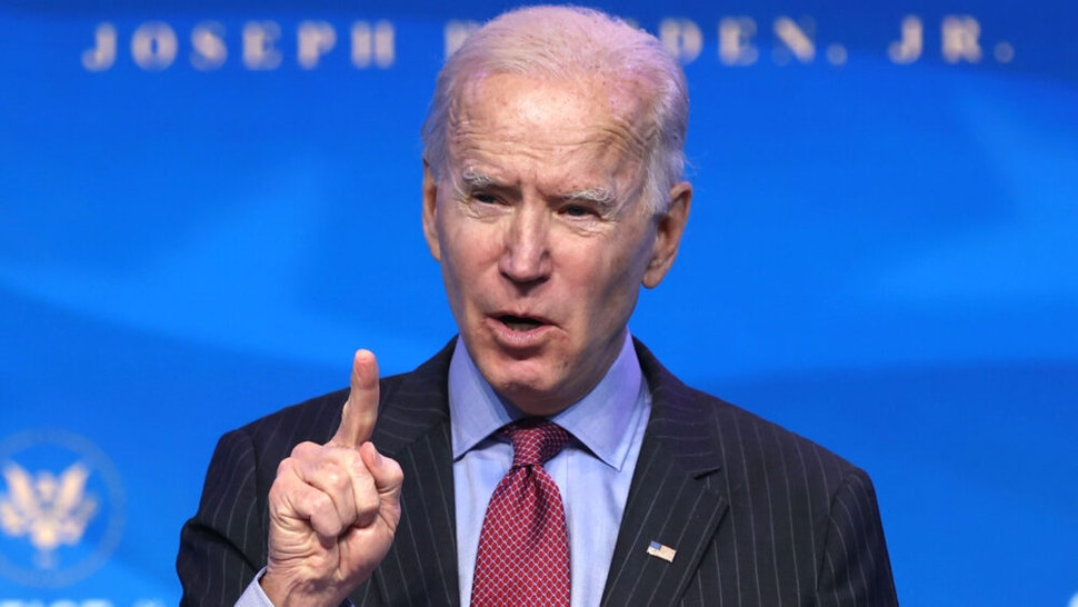 WILMINGTON, DELAWARE - JANUARY 08: U.S. President-elect Joe Biden delivers remarks after he announced cabinet nominees that will round out his economic team, including secretaries of commerce and labor, at The Queen theater on January 08, 2021 in Wilmington, Delaware. Biden announced he is nominating Rhode Island Gov. Gina Raimondo as his commerce secretary, Boston Mayor Martin J. Walsh his labor secretary and Isabel Guzman, a former Obama administration official, as head of the Small Business Administration.