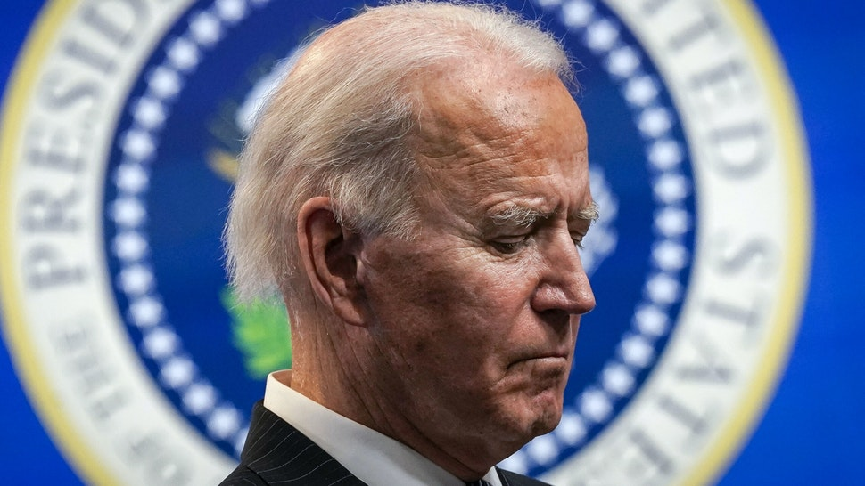 WASHINGTON, DC - JANUARY 25: U.S. President Joe Biden pauses while speaking after signing an executive order related to American manufacturing in the South Court Auditorium of the White House complex on January 25, 2021 in Washington, DC. President Biden signed an executive order aimed at boosting American manufacturing and strengthening the federal governments Buy American rules.