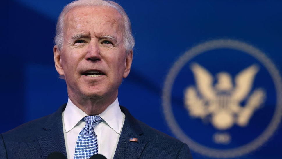 WILMINGTON, DELAWARE - JANUARY 06: U.S. President-elect Joe Biden delivers remarks about the storming of the U.S. Capitol by a pro-Trump mob at The Queen theater January 06, 2021 in Wilmington, Delaware. Supporters of President Donald Trump stormed the U.S. Capitol Wednesday as members of Congress were certifying the results of the 2020 presidential election, which Biden won.