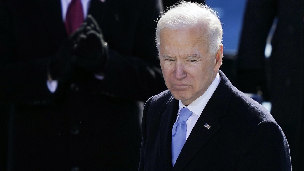 WASHINGTON, DC - JANUARY 20: U.S. President Joe Biden pauses after delivering his inaugural address on the West Front of the U.S. Capitol on January 20, 2021 in Washington, DC. During today's inauguration ceremony Joe Biden becomes the 46th president of the United States.