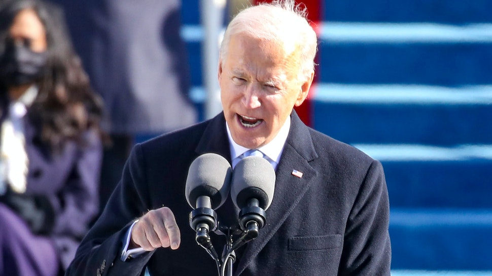 WASHINGTON, DC - JANUARY 20: U.S. President Joe Biden delivers his inaugural address on the West Front of the U.S. Capitol on January 20, 2021 in Washington, DC. During today's inauguration ceremony Joe Biden becomes the 46th president of the United States.