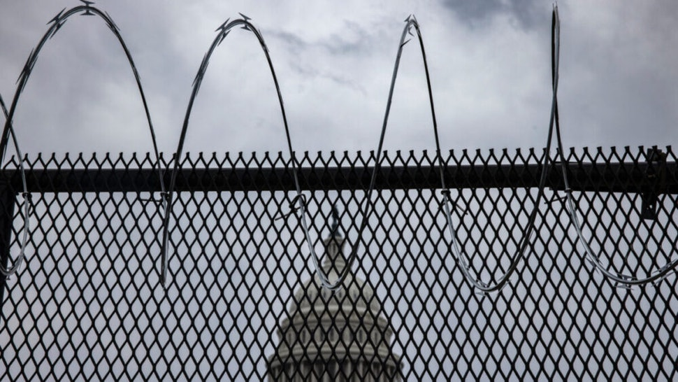 Razor wire is seen after being installed on the fence surrounding the grounds of the U.S. Capitol on January 15, 2021 in Washington, DC.