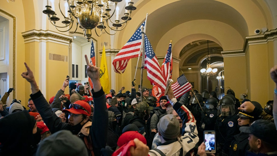 WASHINGTON, DC - JANUARY 06: Supporters of US President Donald Trump protest inside the US Capitol on January 6, 2021, in Washington, DC. Demonstrators breeched security and entered the Capitol as Congress debated the 2020 presidential election Electoral Vote Certification.