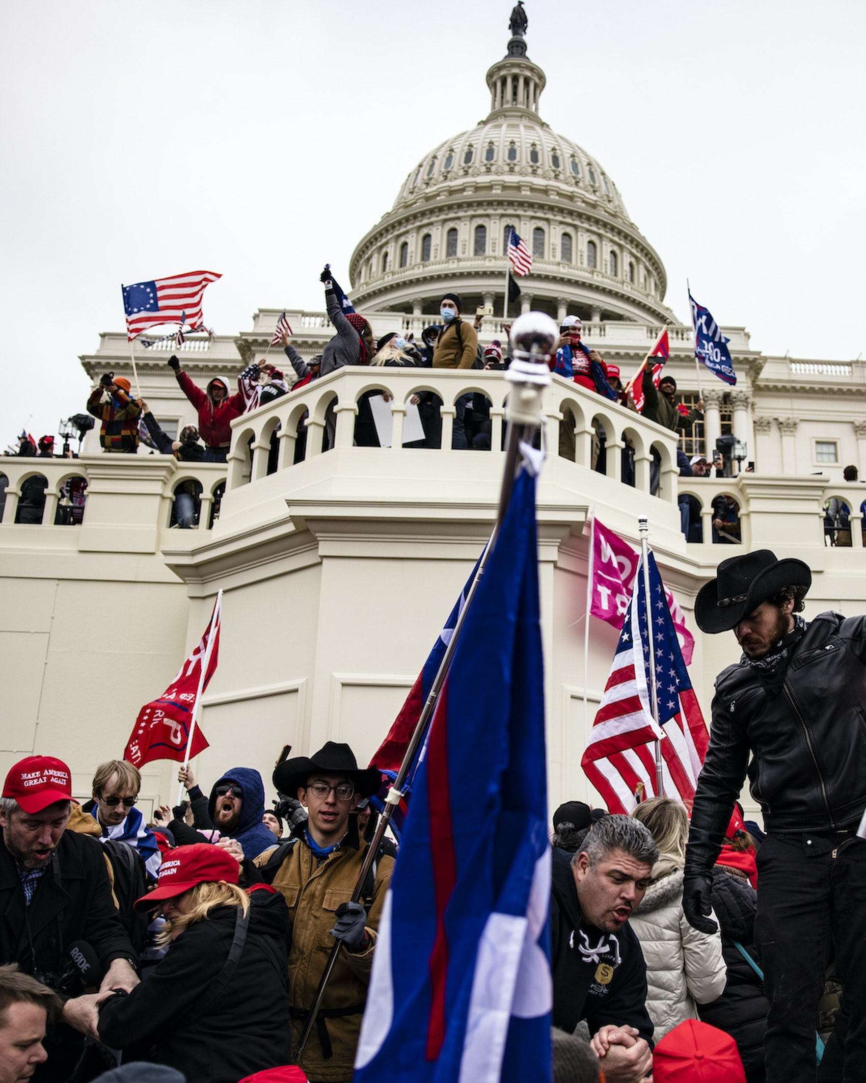 Pro-Trump supporters storm the US Capitol following a rally with President Donald Trump on January 6, 2021 in Washington, DC. Trump supporters gathered in the nation's capital today to protest the ratification of President-elect Joe Biden's Electoral College victory over President Trump in the 2020 election. (Photo by Samuel Corum/Getty Images)
