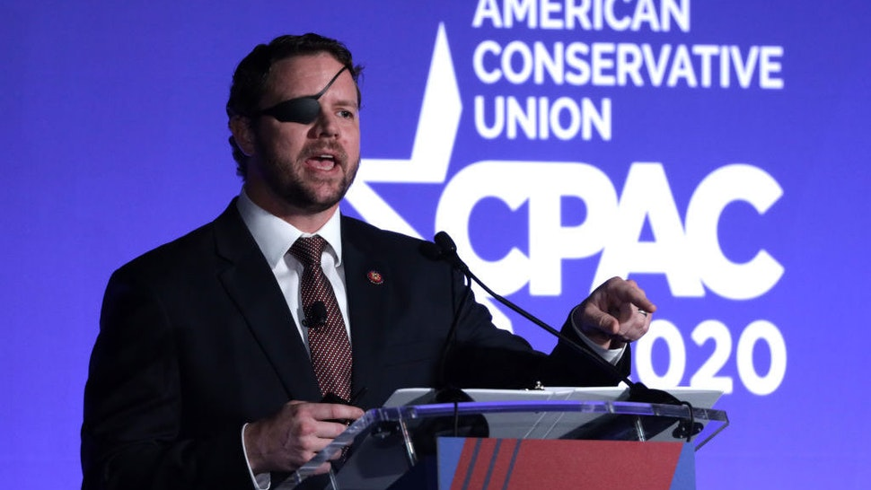 """NATIONAL HARBOR, MARYLAND - FEBRUARY 26: U.S. Rep. Dan Crenshaw (R-TX) speaks on """"The Fate of Our Culture and Our Nation Hangs in the Balance"""" during the CPAC Direct Action Training at the annual Conservative Political Action Conference at Gaylord National Resort & Convention Center February 26, 2020 in National Harbor, Maryland. U.S. President Donald Trump is expected to address the annual event on February 29th. (Photo by Alex Wong/Getty Images)"""