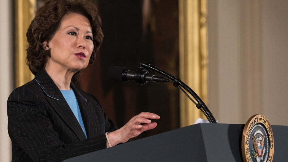 Elaine Chao, Secretary of the Department of Transportation speaks, at President Donald Trump's event announcing the Air Traffic Control Reform Initiative in the East Room of the White House, on Monday, June 5, 2017. (