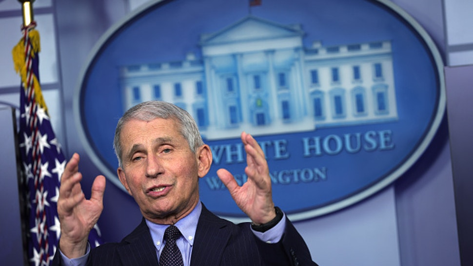 WASHINGTON, DC - JANUARY 21: Dr Anthony Fauci, Director of the National Institute of Allergy and Infectious Diseases, speaks during a White House press briefing, conducted by White House Press Secretary Jen Psaki, at the James Brady Press Briefing Room of the White House January 21, 2021 in Washington, DC. Psaki held her second press briefing since President Joe Biden took office yesterday.