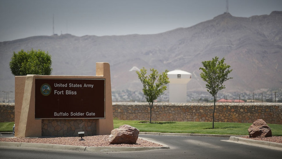 FORT BLISS, TX - JUNE 25: An entrance to Fort Bliss is shown as reports indicate the military will begin to construct temporary housing for migrants on June 25, 2018 in Fort Bliss, Texas. The reports say that the Trump administration will use Fort Bliss and Goodfellow Air Force Base to house detained migrants as they are processed through the legal system.
