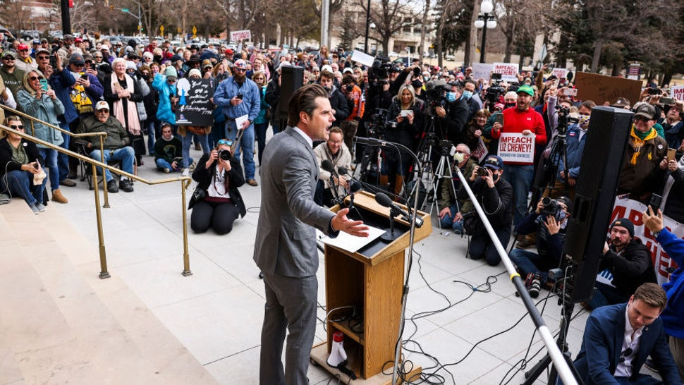 CHEYENNE, WY - JANUARY 28: Rep. Matt Gaetz (R-FL) speaks to a crowd during a rally against Rep. Liz Cheney (R-WY) on January 28, 2021 in Cheyenne, Wyoming. Gaetz added his voice to a growing effort to vote Cheney out of office after she voted in favor of impeaching Donald Trump.