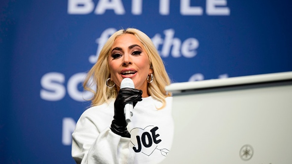 US singer Lady Gaga performs prior to Democratic presidential candidate Joe Biden speaking during a Drive-In Rally at Heinz Field in Pittsburgh, Pennsylvania, on November 2, 2020.