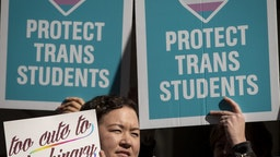 NEW YORK, NY - OCTOBER 24: L.G.B.T. activists and their supporters rally in support of transgender people on the steps of New York City Hall, October 24, 2018 in New York City. The group gathered to speak out against the Trump administration's stance toward transgender people. Last week, The New York Times reported on an unreleased administration memo that proposes a strict biological definition of gender based on a person's genitalia at birth.