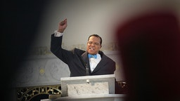 CHICAGO - MARCH 31: Minister Louis Farrakhan, leader of the Nation of Islam, gets a standing ovation from his followers as he makes a point while speaking at a press conference at Mosque Maryam on March 31, 2011 in Chicago, Illinois. During the press conference Farrakhan expressed support for Libyan leader Moammar Gadhafi and called for an immediate cease fire in Libya. Farrakhan also told his followers at the press conference to stockpile food and water in their homes, predicting a major earthquake would hit the United States in the near future. (Photo by Scott Olson/Getty Images)