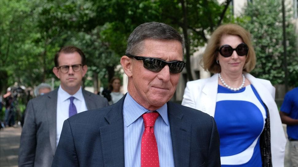 President Donald Trump's former National Security Adviser Michael Flynn leaves the E. Barrett Prettyman U.S. Courthouse on June 24, 2019 in Washington, DC.