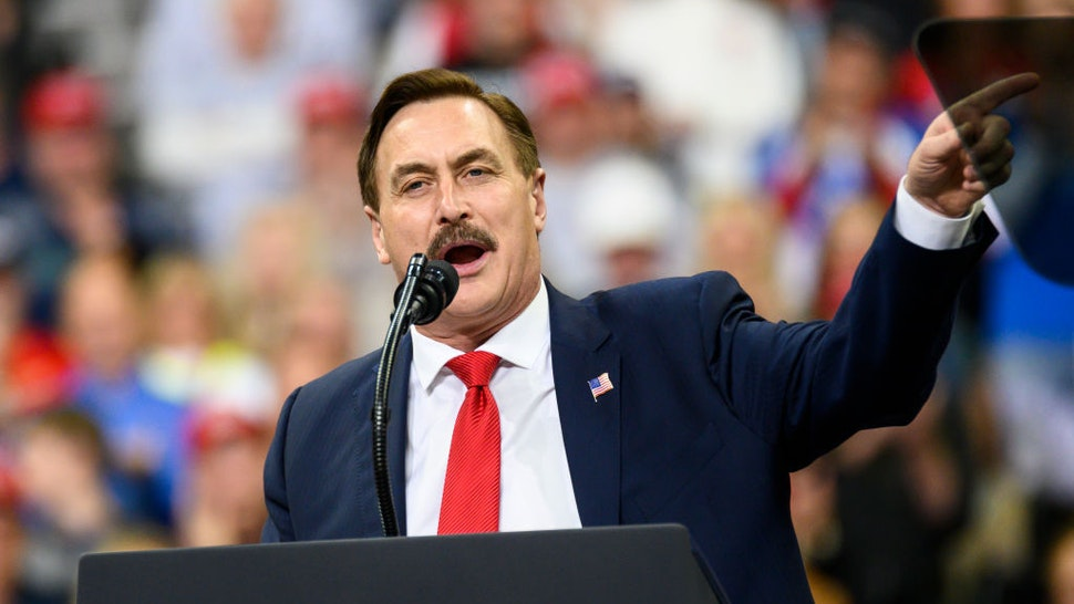 Mike Lindell, CEO of My Pillow, speaks during a campaign rally held by U.S. President Donald Trump at the Target Center on October 10, 2019 in Minneapolis, Minnesota.