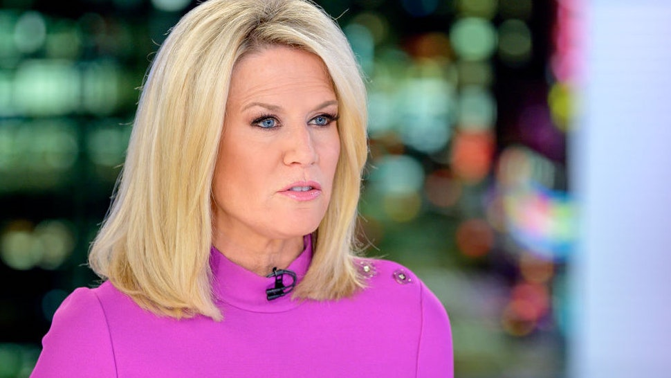 """Host Martha MacCallum as U.S. Secretary of State Mike Pompeo visits """"The Story With Martha MacCallum"""" at Fox News Channel Studios on October 30, 2019 in New York City."""