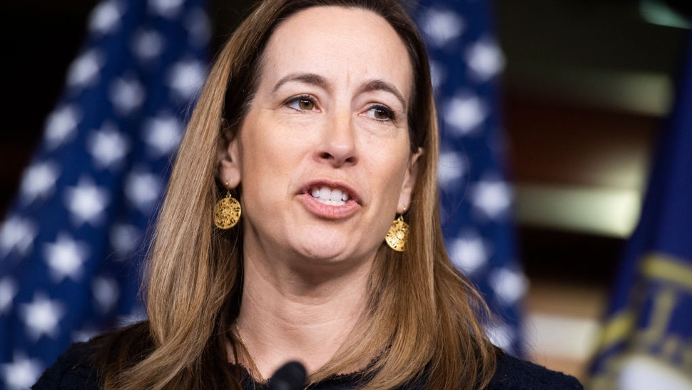 UNITED STATES - FEBRUARY 28: Rep. Mikie Sherrill, D-N.J., conducts a news conference with members of the New Democrat Coalition on their 2020 agenda in the Capitol Visitor Center on Friday, February 28, 2020. (Photo By Tom Williams/CQ-Roll Call, Inc via Getty Images)