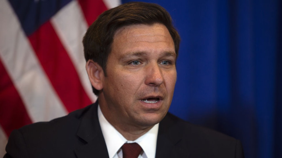 Ron DeSantis, governor of Florida, speaks during a news conference with U.S. Vice President Mike Pence, not pictured, in West Palm Beach, Florida, U.S., on Friday, Feb. 28, 2020.