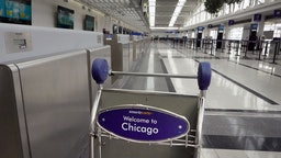 CHICAGO, ILLINOIS - MARCH 12: The international terminal at O'Hare Airport is nearly devoid of travelers on March 12, 2020 in Chicago, Illinois. Yesterday President Donald Trump announced a travel ban for European travelers coming into the U.S. for the next 30 days in an attempt to stem the proliferation of the COVID-19 pandemic. (Photo by Scott Olson/Getty Images)