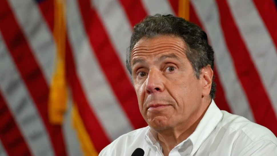 NY Governor Andrew Cuomo speaks during a press briefing on COVID-19 at Madison Boys and Girls Club in the Brooklyn borough of New York City on May 28, 2020.