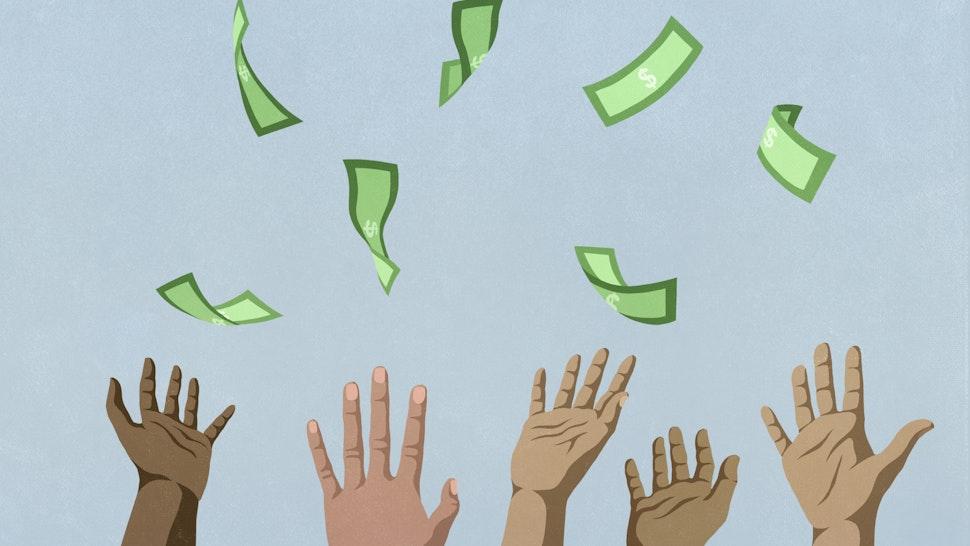 Hands reaching for falling money - stock illustration