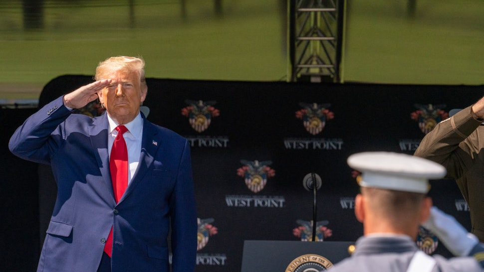 President Donald Trump salutes cadets at the beginning of the commencement ceremony on June 13, 2020 in West Point, New York.