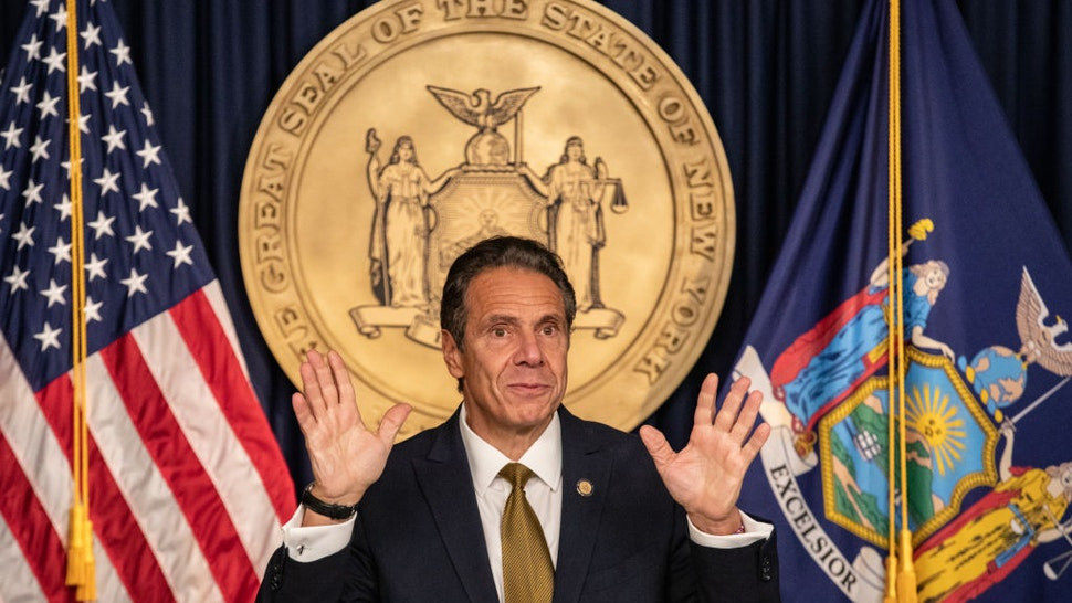 Andrew Cuomo, governor of New York, speaks during a news conference in New York, U.S., on Monday, Oct. 5, 2020.