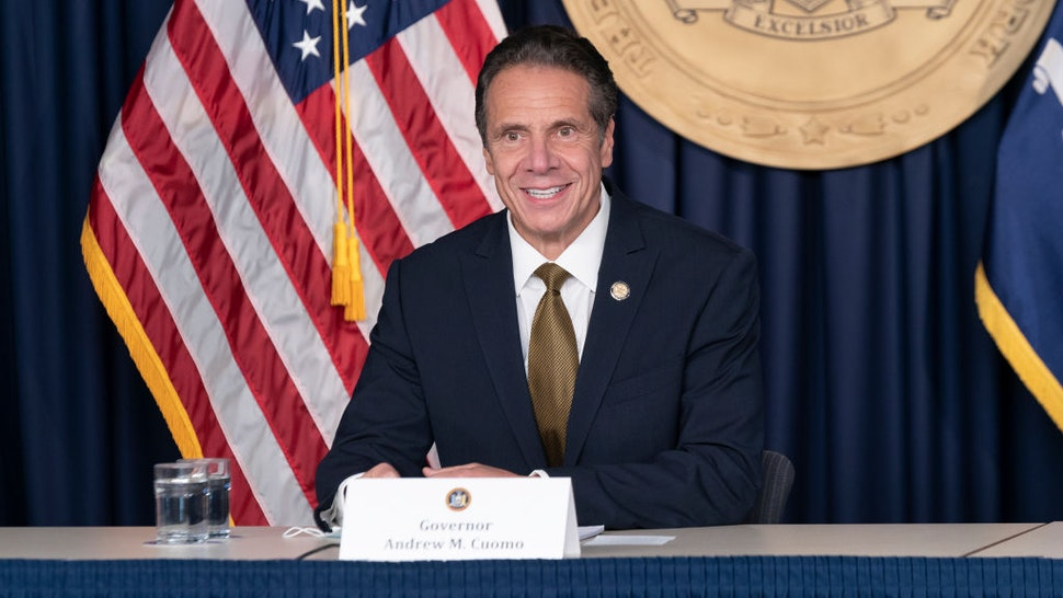 New York State Governor Andrew Cuomo makes daily media announcement and briefing at 633 3rd Avenue, Manhattan.