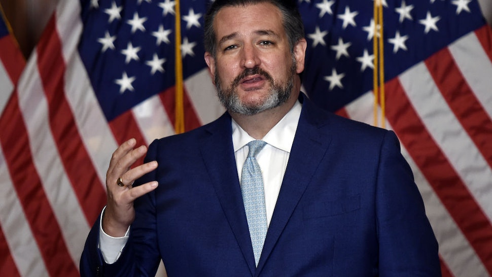 Senator Ted Cruz, a Republican from Texas, speaks during a news conference at the U.S. Capitol in Washington, D.C., U.S., on Monday, Oct. 26, 2020.