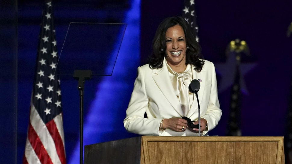 U.S. Vice President-elect Kamala Harris smiles while arriving to speak during an election event in Wilmington, Delaware, U.S., on Saturday, Nov. 7, 2020.