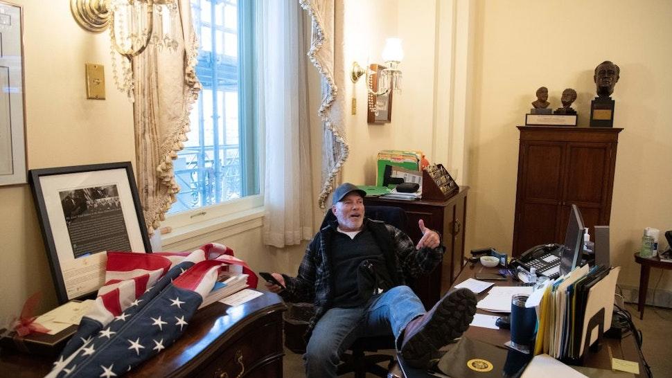 Protester in Pelosi's office