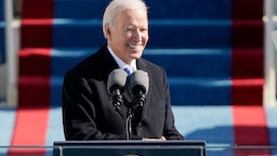 TOPSHOT - US President Joe Biden delivers his Inauguration speech after being sworn in as the 46th US President on January 20, 2021, at the US Capitol in Washington, DC.