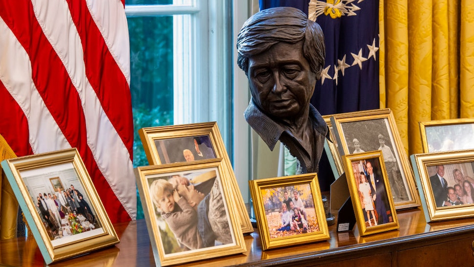 An early preview of the redesigned Oval Office awaiting President Joseph Biden at the White House, on January 20 in Washington, DC.