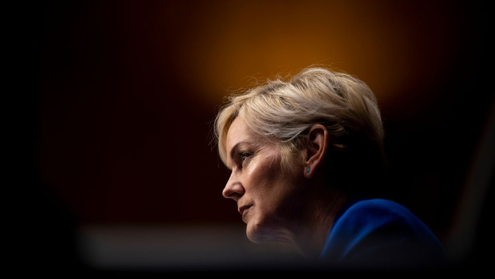 Former Michigan Governor Jennifer Granholm speaks during the Senate Energy and Natural Resources Committee hearing to examine her nomination to be Secretary of Energy, on Capitol Hill in Washington, DC, on January 27, 2021. (Photo by JIM WATSON / POOL / AFP