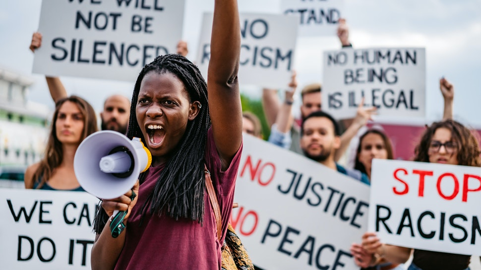 People on strike against racism - stock photo