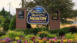 Highway welcome sign for Moscow Idaho
