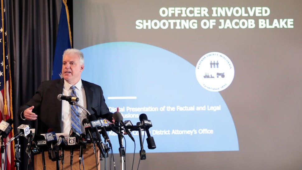 Kenosha County Courthouse District Attorney Michael Graveley announces no charges would be filed against Police Officer Rusten Sheskey for the shooting of Jacob Blake on January 05, 2021 in Kenosha, Wisconsin.